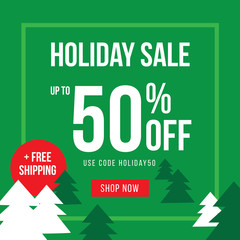Holiday Up To 50% Off Sale Advertisement Square Template Vector Illustration