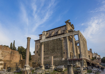 Temple Antonius Faustina Roman Forum Rome Italy