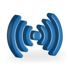 Wireless internet network signal blue logo vector image