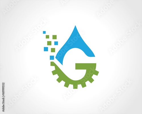 Drop water gear letter g logo stock image and royalty free vector drop water gear letter g logo altavistaventures Images