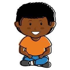 black little boy seated character vector illustration design