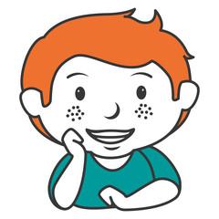 cute little boy lying character vector illustration design