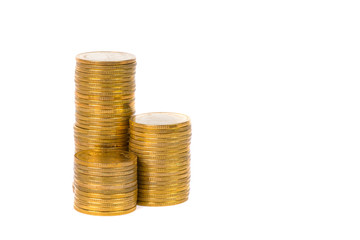 Columns of gold coins, piles of coins on white background
