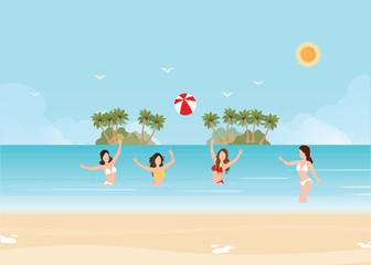 Bikini woman play volleyball in the sea