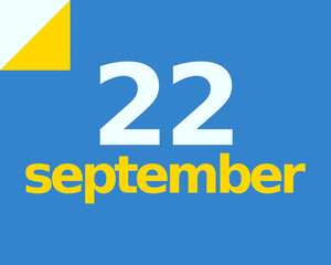 22 September Flat Calendar Day of Month Number in Blue Yellow Paper Note