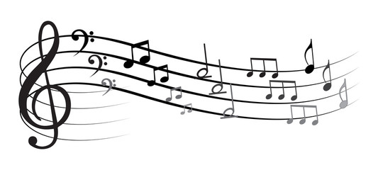 Music note with different symbols