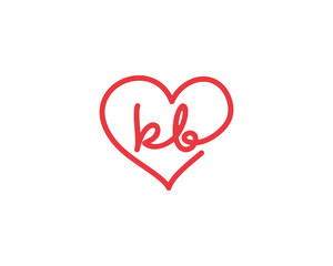Lowercase letter kb and heart 1