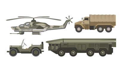 Military transport with armored corpus isolated illustrations set