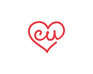 Lowercase letter cu and heart 1