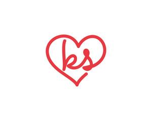 Lowercase letter ks and heart 1