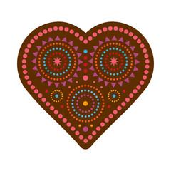 Коричневое изолированное декоративное изображение сердца с цветным узором в племенном стиле.