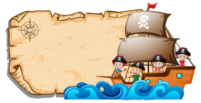 Paper template with children on pirate ship