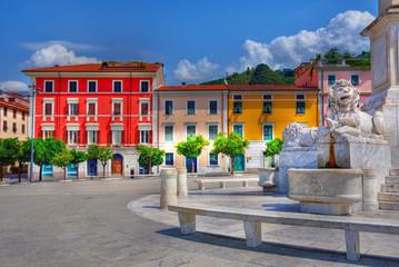 Aluminium Prints Historic monument arance square and obelisk Massa Tuscany Italy