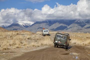 Russian Furgon vans in Altai Tavan Bogd National Park, Mongolia