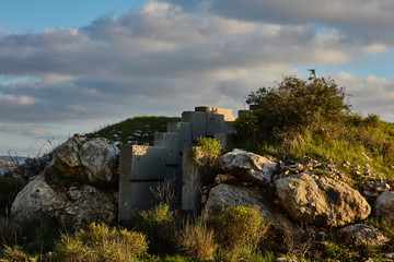 Cement bunker at sunset time, Israel, Samaria.