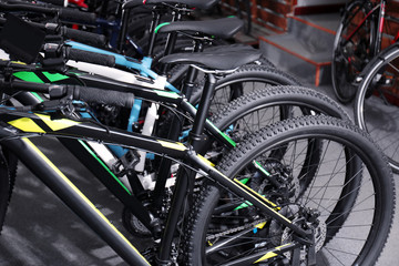 Row of new bicycles in shop