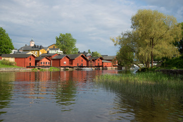 A cloudy June day on the Porvojoki river. Old Porvoo, Finland