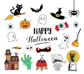 Happy Halloween hand drawn illustrations and elements. Halloween design elements, badges, labels, icons and objects.