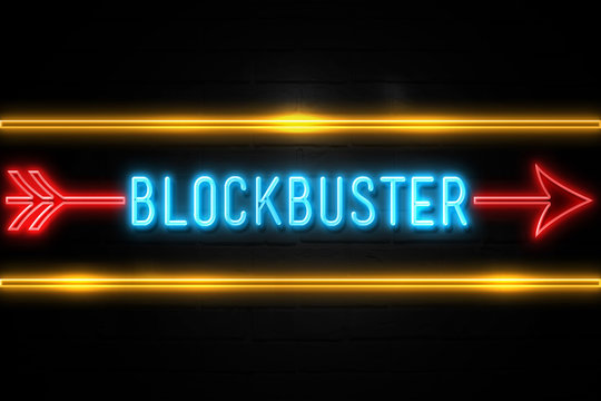 Blockbuster  - fluorescent Neon Sign on brickwall Front view