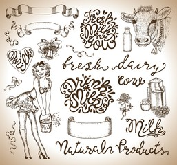 Design set with pinup girl holding bucket of milk, vignette banners and lettering. Hand drawn design illustrations