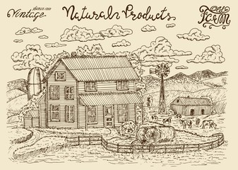 Design set with od milk farm, cows and lettering. Hand drawn design illustrations