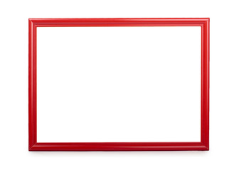 Wooden red photo frame. Isolated on white background