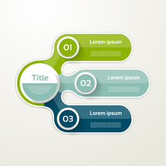 Three elements banner. 3 steps design, chart, infographic, step by step number option, layout.