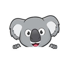 Koala holding and looking over a blank sign board