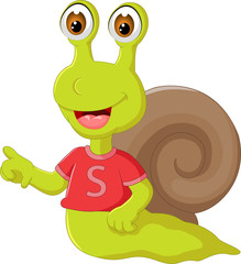 funny snail cartoon pointing finger with smile