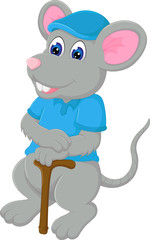 funny mouse cartoon bring stick with smile