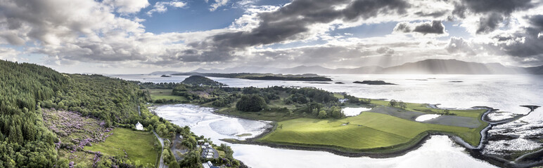 Aerial view of Loch Laich with the view to Lismore