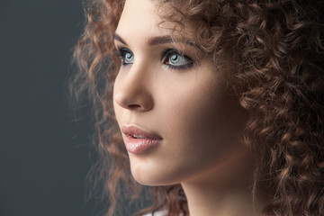 Close up portrait of beautiful woman face