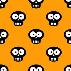 Happy Halloween pattern with skulls. Seamless pattern. Vector illustration.