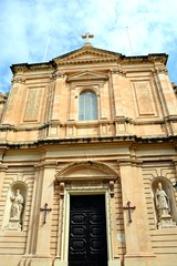 Front view of the Parish church of our lady of sorrows, Bugibba, Malta.