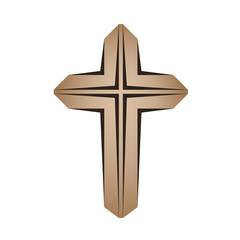 wooden christian cross vector