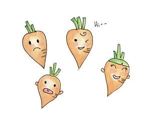 Set carrot cartoon character isolated on white background, Watercolor drawing.