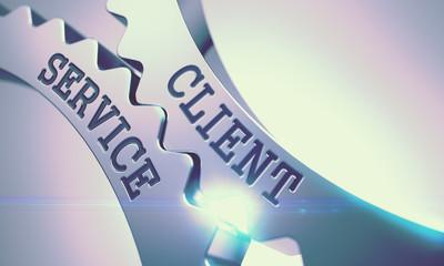 Client Service - Mechanism of Shiny Metal Cog Gears. 3D.