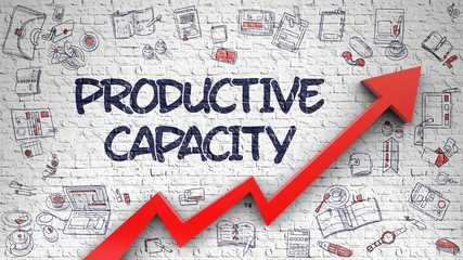 Productive Capacity Drawn on White Brick Wall. 3D.