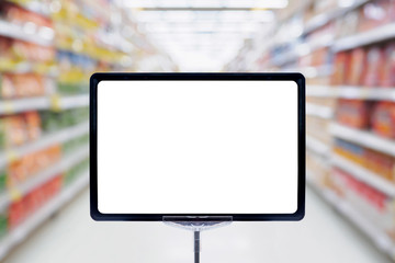 Mock up blank price board poster sign display with supermarket aisle