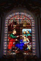 Stained glass window inside St Pauls Cathedral also known as Mdina Cathedral, Mdina, Malta.