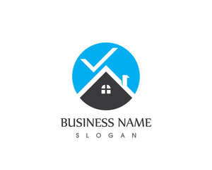 Building Home With Check Mark Logo