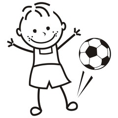 Boy and soccer ball, vector illustration, coloring page