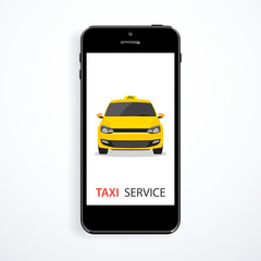 Vector taxi service concept. Yellow taxi car and smart phone.