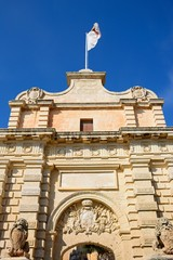 View of the Town Gate leading to the city centre, Mdina, Malta.