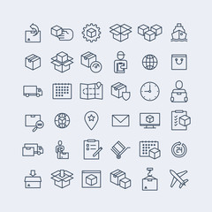 Simple Set of Delivery Related Vector Line Icons.