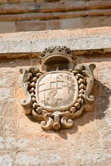 Coat of arms on the Town Gate, Mdina, Malta.