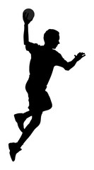 Handball player in action, attack shut in jumping vector silhouette illustration. Elegant body sport figure, black shadow. Dynamic athlete jump and shooting penalty in goal.
