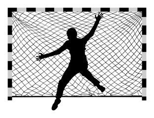 Handball (soccer) goalkeeper silhouette vector. Goalkeeper silhouette, black icon and net isolated on white background.