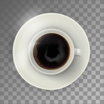 White coffee cup on the plate, top view, realistic vector