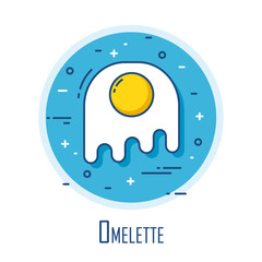 Icon with omelette in thin line flat design. Vector background.